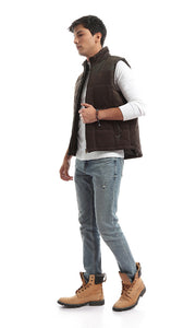 51151 Casual Zip Turned Down Collar Olive Green Vest