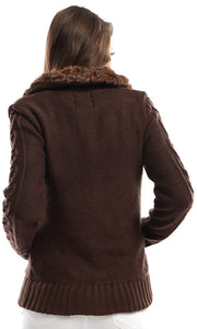 51168 Braided Buttoned Brown Winter Jacket