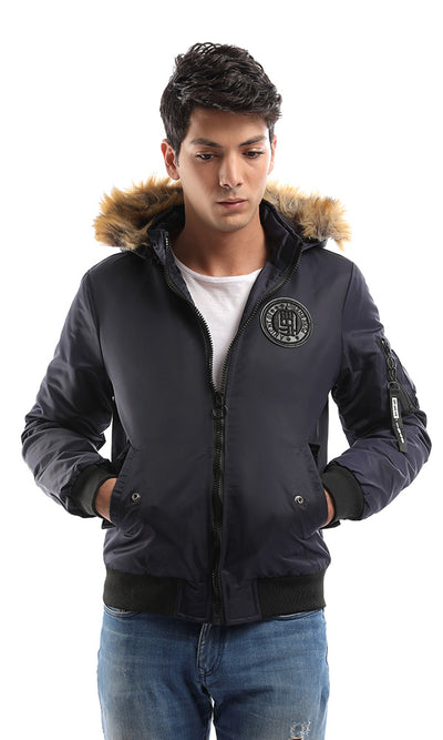 51183 Zipped Casual Men Elegant Jacket - Navy Blue