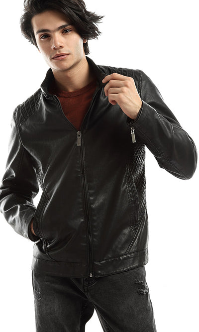 51197 Front Pocket Zipped Leather Jacket - Black