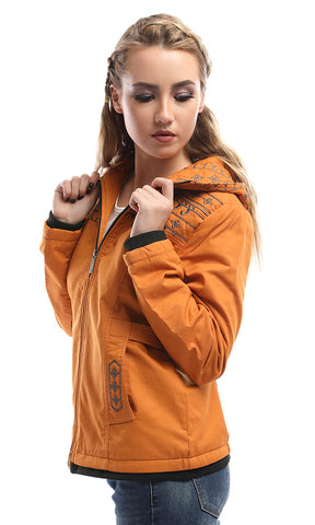 51208 Decorated Zipped Mustard Jacket With Fur Inside