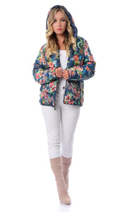 Navy Blue Floral Double Face Bomber Jacket