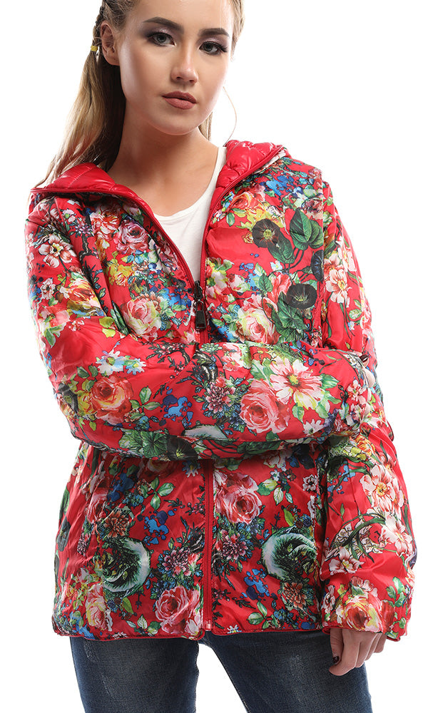 Double Face Floral Waterproof Red Jacket With Cape