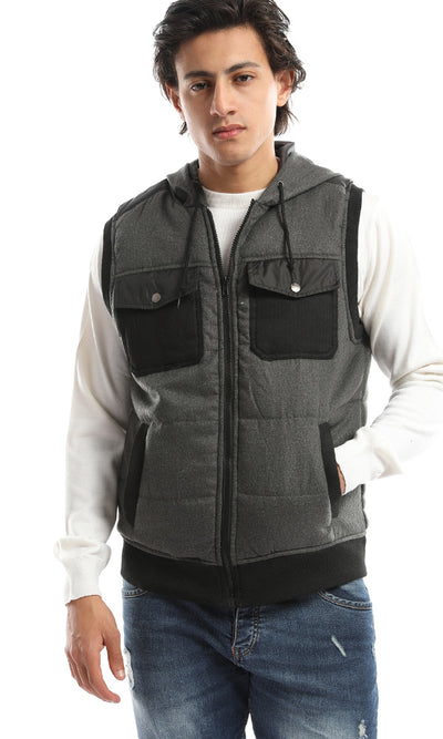 51257 Hooded Zip Pockets Dark Grey Vest