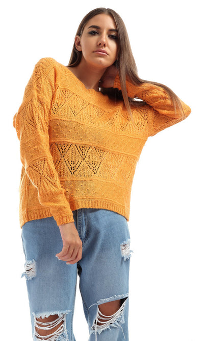 51259 Buttoned Back Cropped Pullover Mustard