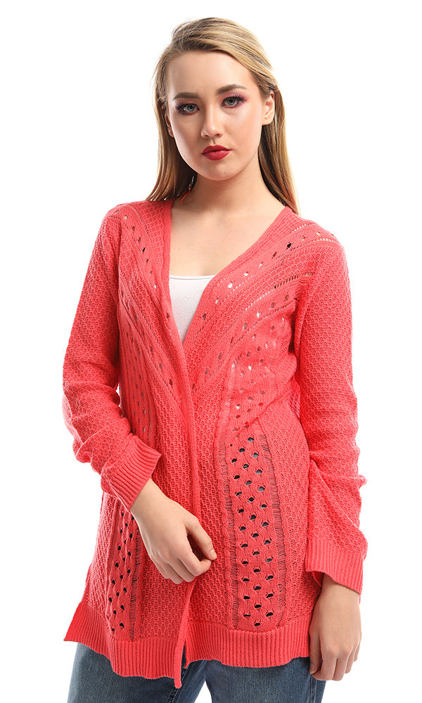 51265 Perforated Open Front Peach Cardigan