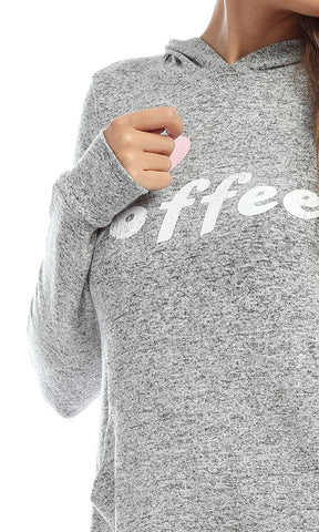 51297 ILOVE COFFE Printed Winter Casual Grey Hoodie