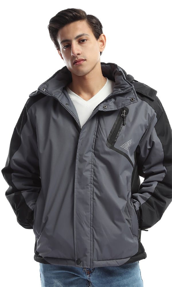 Winter Bi-Tone Bomber Hodded Jacket - Black &Light Grey