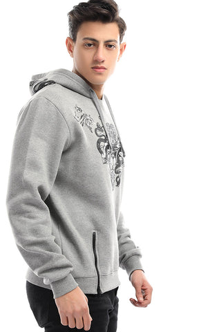 51309 Cairokee Collection Printed Casual Grey Hoodie With Cape