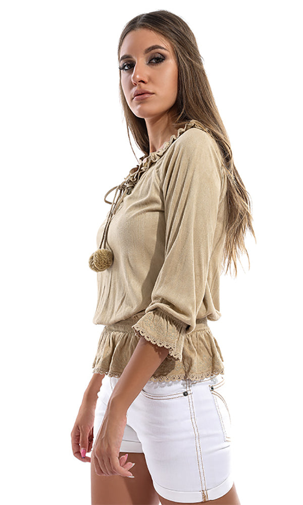 Ruffled Decorated Blouse - Beige