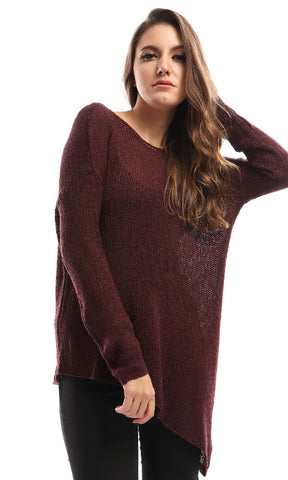 51324 Unique Heavy Rounded Perforated Pullover - Wine