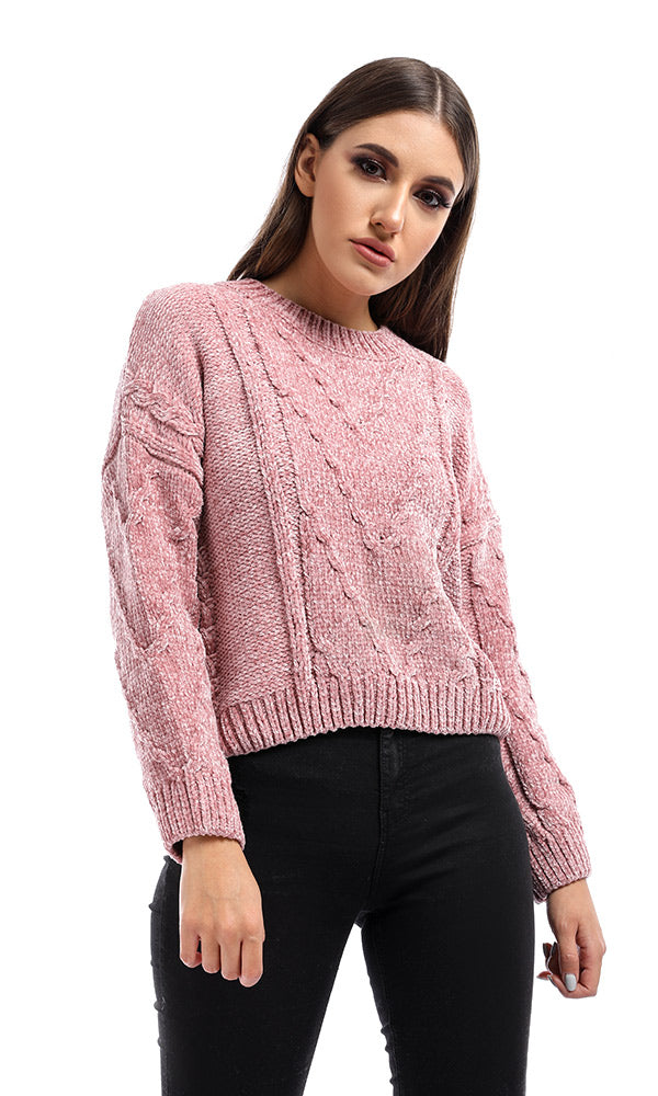 Pink Winter Cropped Pullover