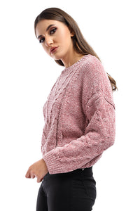 51332 Pink Winter Cropped Pullover