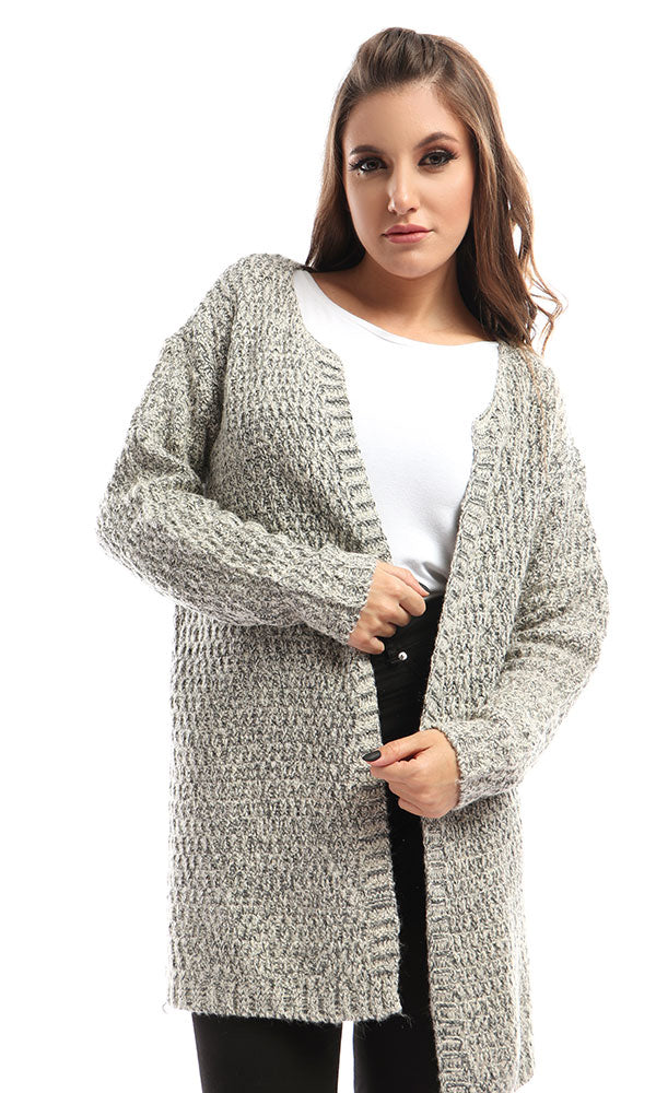 Basic Winter Heavy Cardigan - Grey & Offwhite