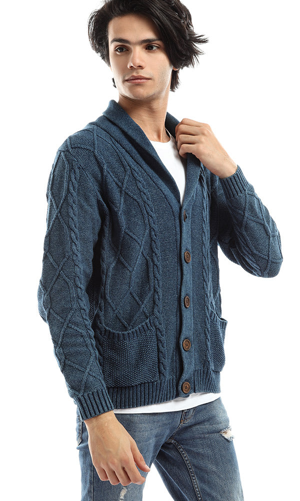 Big Buttoned Blue Long Sleeves Cardigan