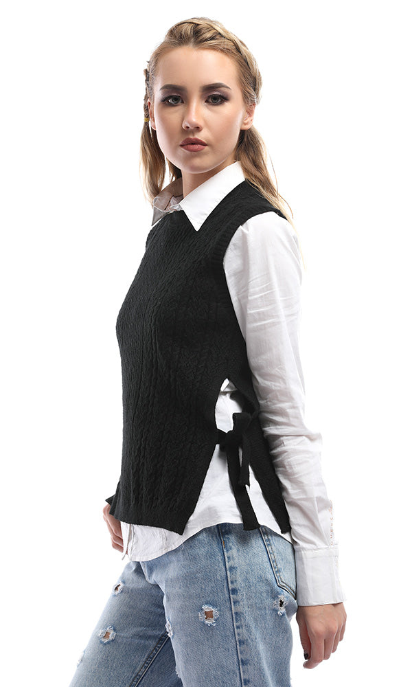 Sleeveless Vest With Side Ties - Black