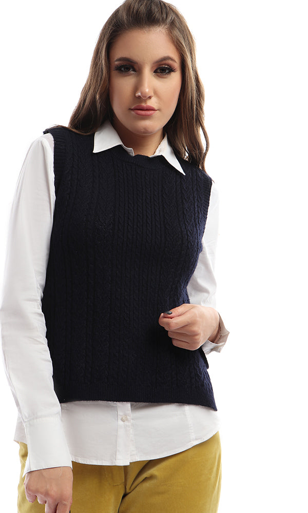 Sleeveless Vest With Side Ties - Navy Blue
