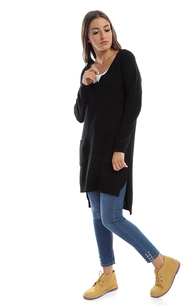 51372 Wool Winter Tunic Pullover - Navy Blue
