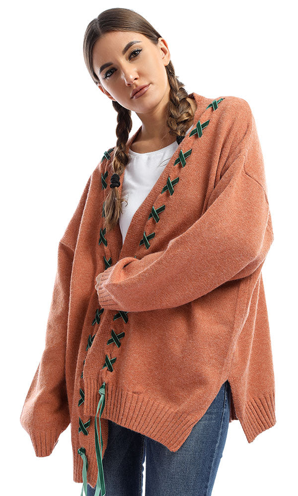 Cozy Perforated Knit Cardigan- Peru