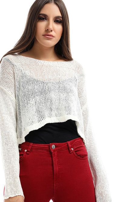 51390 Off White Cropped Knitted Pullover