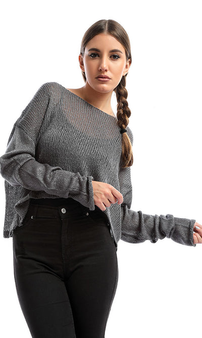 51391 Gray Cropped Knitted Pullover