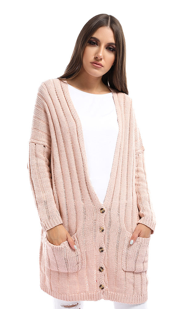 51406 Nude Slouchy Cable Knit Cardigan