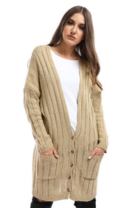 51407 Beige Slouchy Cable Knit Cardigan