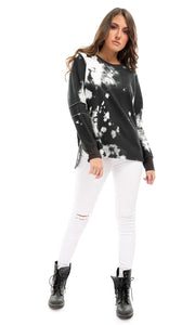 51422 Outsider Patterned Slip On Sweatshirt With Sides Slits - Black & Grey