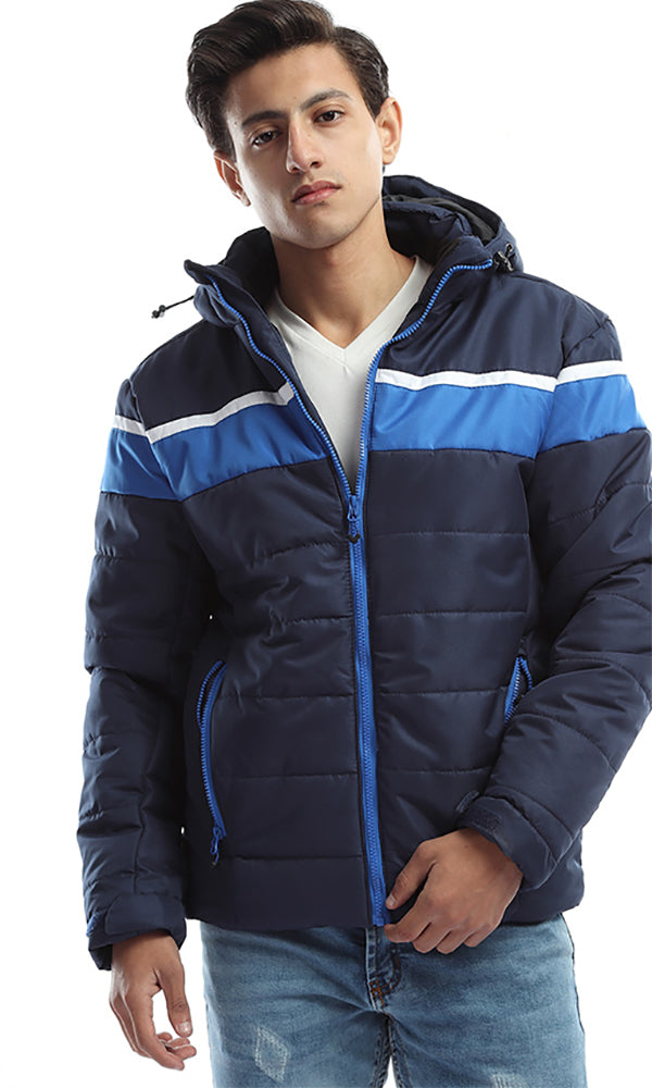 Long Quilted Hooded Bubble Zip Navy Blue Jacket