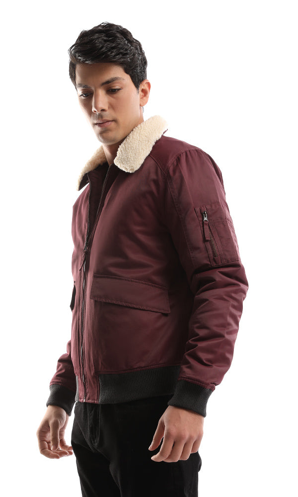 Zipped Violet Casual Jacket With Fur Cap
