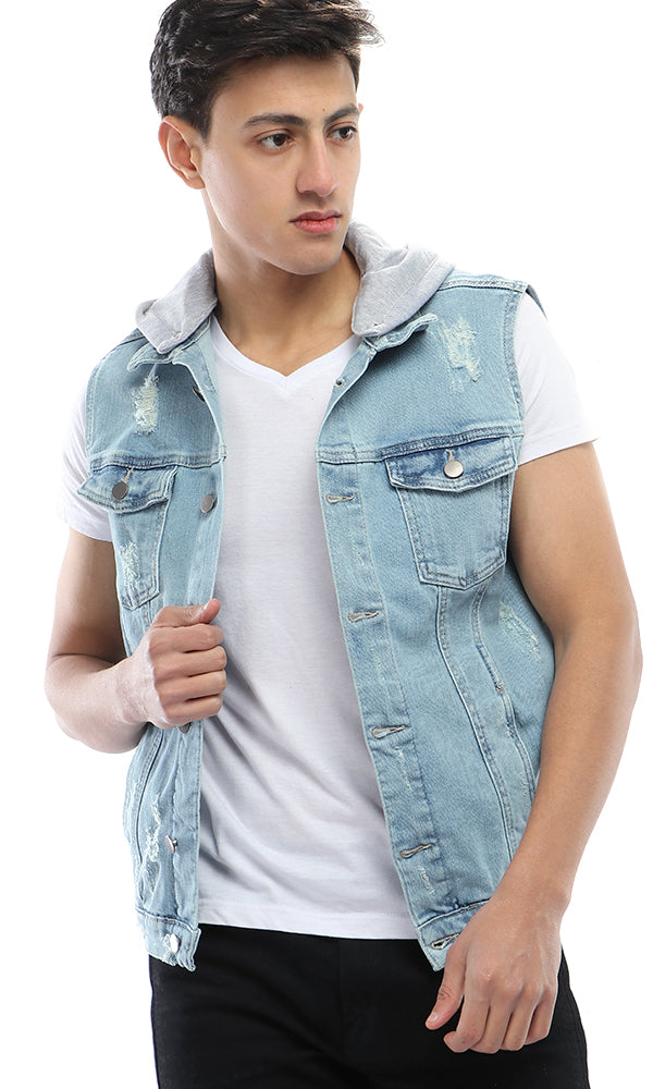 CairoKee Collection Cutted Denim Vest - Light Blue