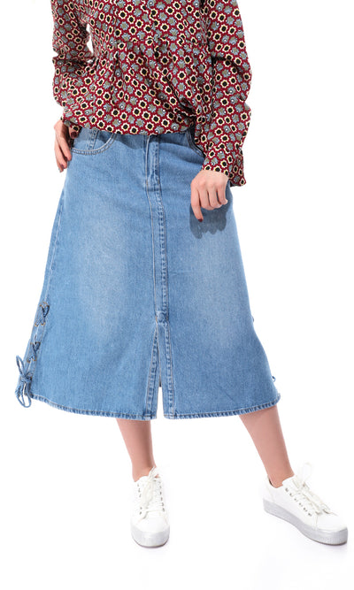 51446 Front Slit Light Blue Jeans Short Skirt