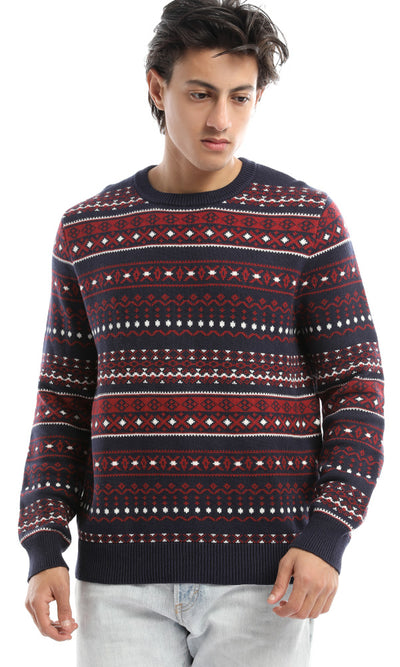 51455 Christmas Round Neck Red Pullover