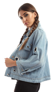 51464 Metal Ring Ripped Holes Jacket Light Blue