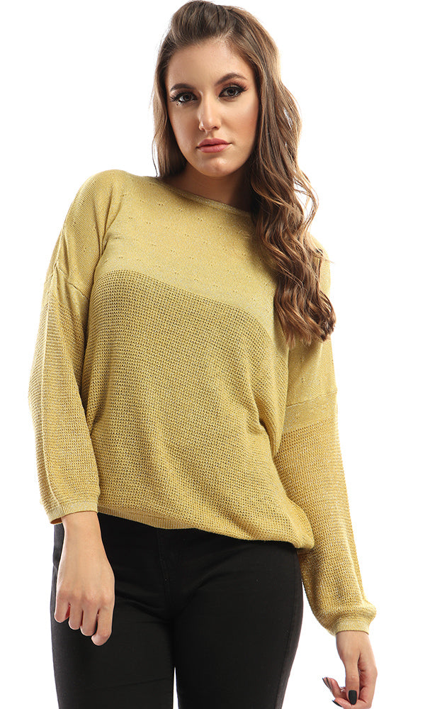 Glittery Heavy Yellow Casual Top