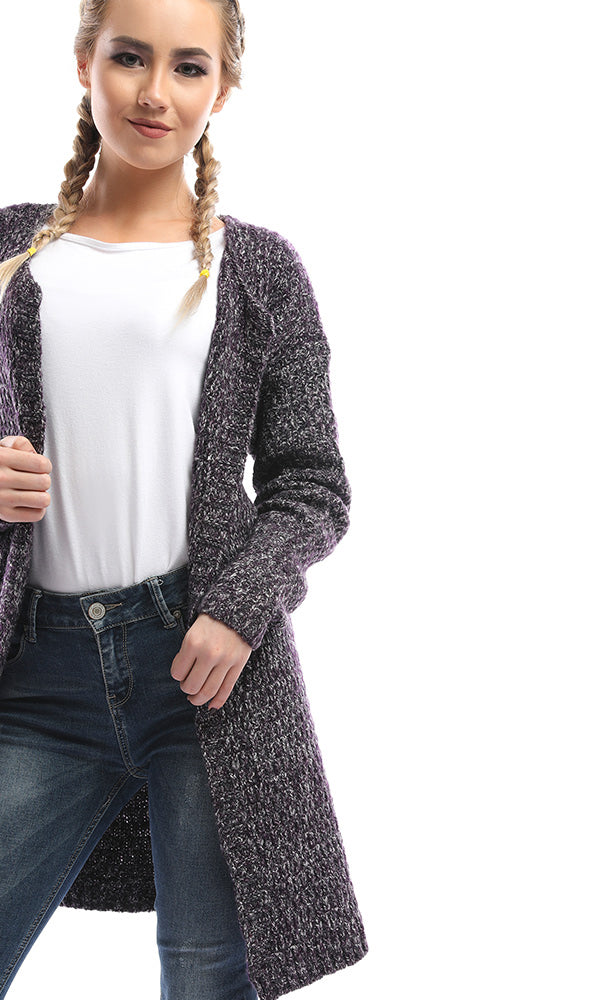 Swing Winter Open Front Cardigan - Heather Purple