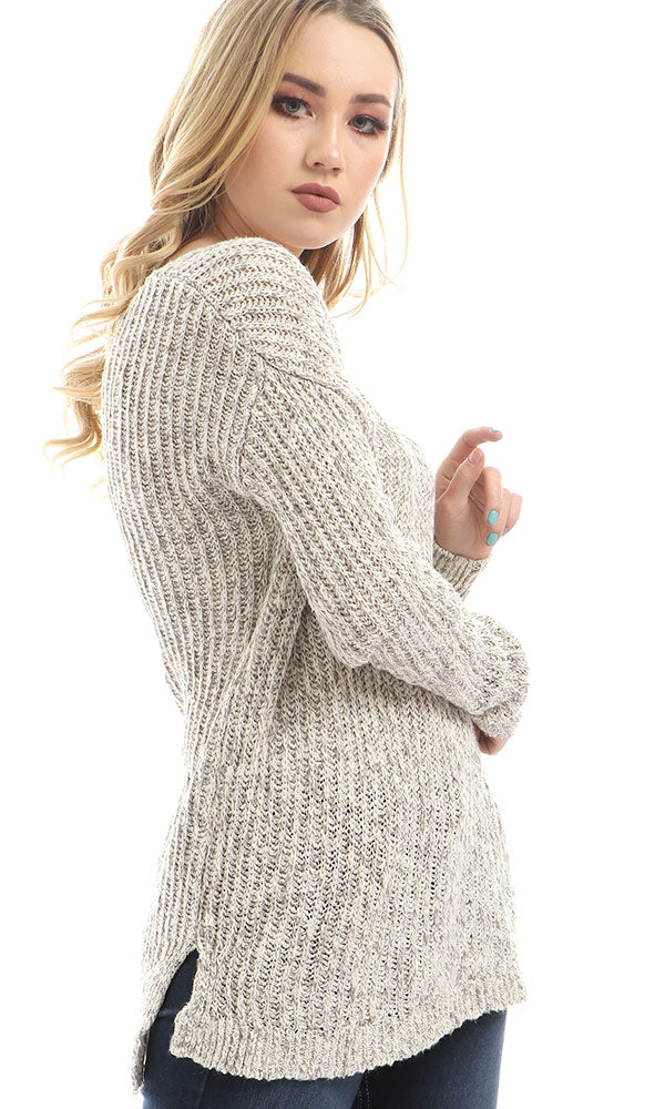 Deep V Neck Knitted Pullover - Heather Beige