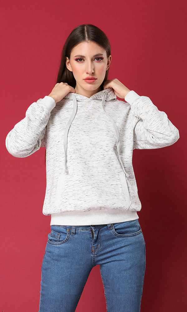 Plain Heather White Long Sleeves Hoodie