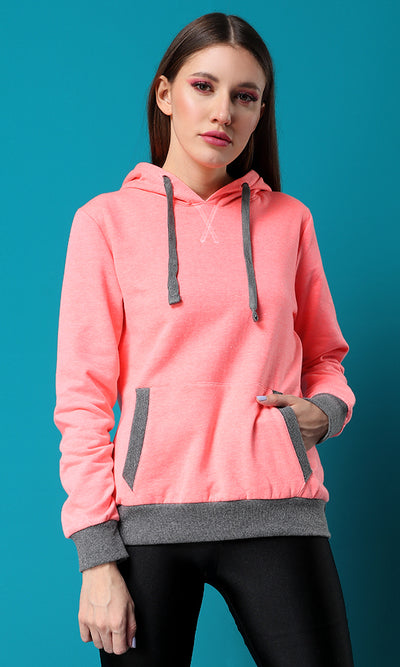 51496 Neon Pink Over-Sized Hemed Basic Hoodie