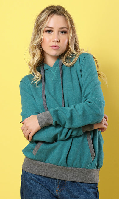 51499 Teal Over-Sized Hemed Basic Hoodie