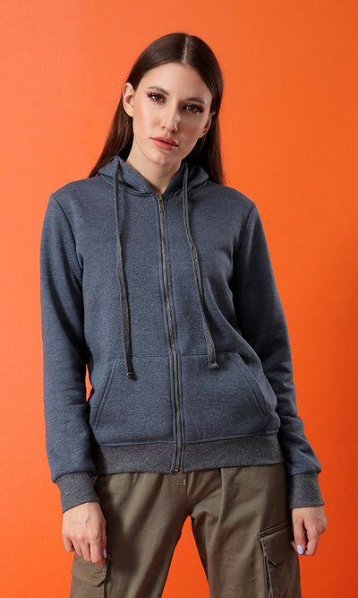 Blue Jeans Over-Sized Hemed Hoodie