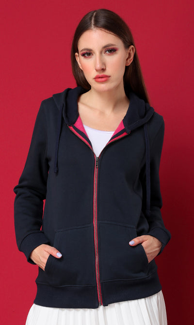 Dreamy Trendy Solid Sweatshirt Navy Blue