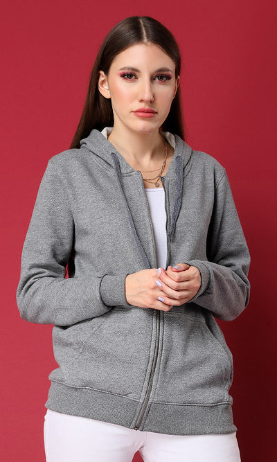51509 Zipped Long Sleeves Basic Sweatshirt With Cape - Grey