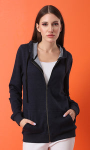 51515 Simple Comfortable Basic Navy Blue Zipped Hoodie