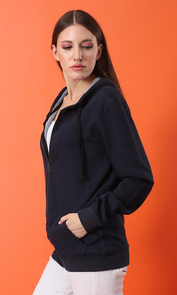 Simple Comfortable Casual Navy Blue Zipped Hoodie - Navy Blue