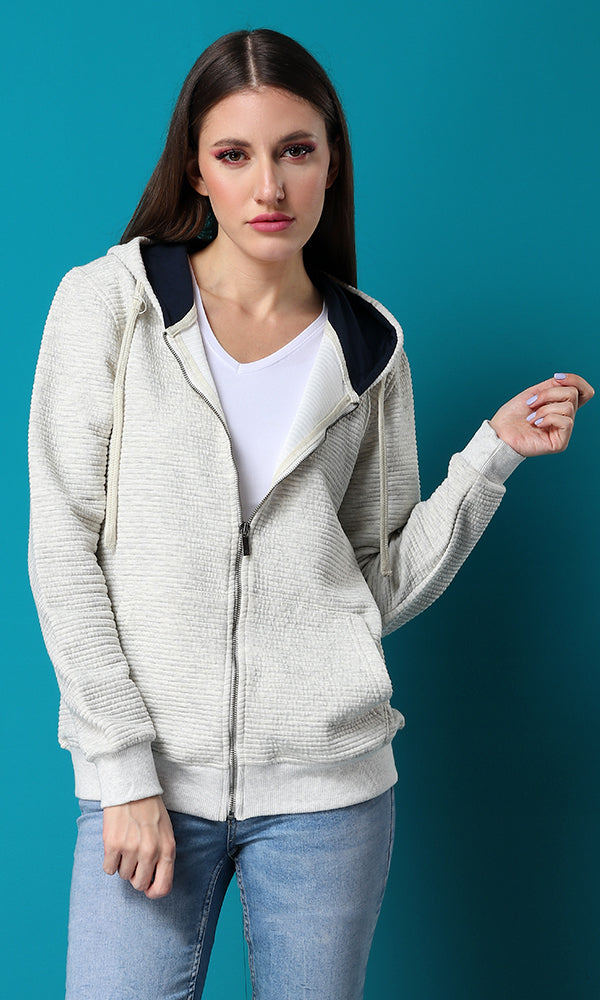 Ribbed Front Pockets Off-White Hoodie