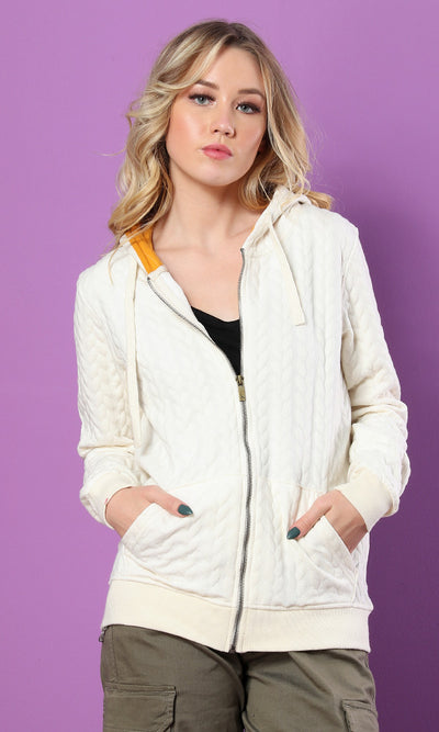 51525 Front Pocket Self Pattern Basic Hoodie - Off White