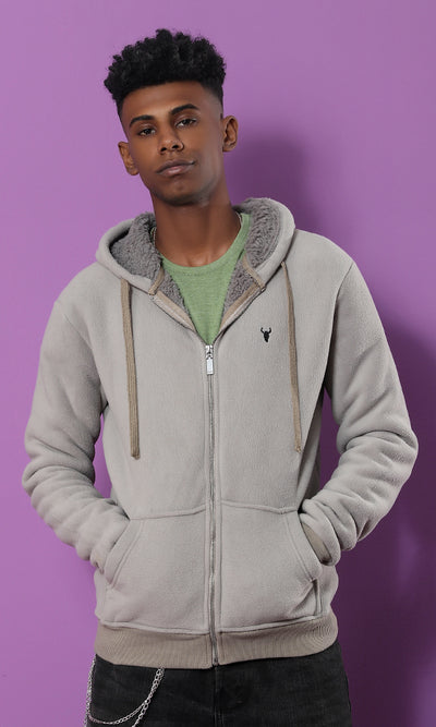 Sportive Slip On Hoodie Padded With Fur - Light Cement - male hoodies & sweatshirts