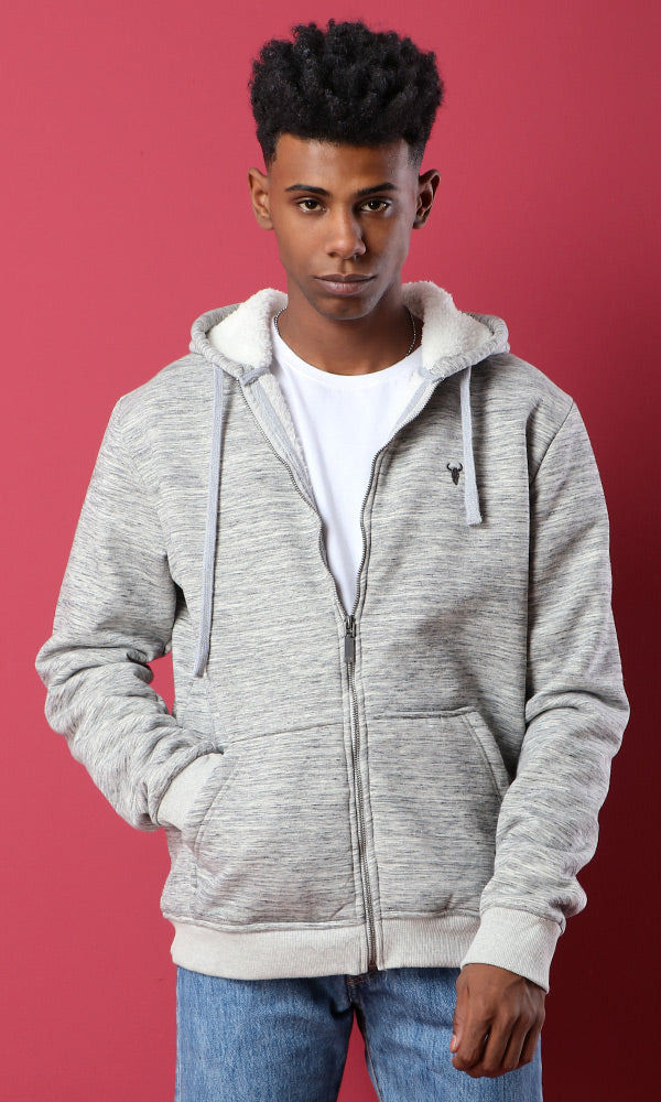 Padded Fur Zipped Hoodie - Heather Light Grey