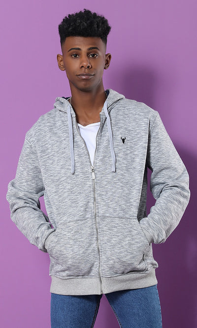 Front Pockets Hoodie - Heather Light Grey